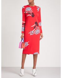 Diane von Furstenberg - Red Floral-print Crepe Midi Dress - Lyst
