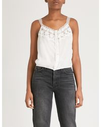 The Kooples - Multicolor Silk And Lace Camisole Top - Lyst