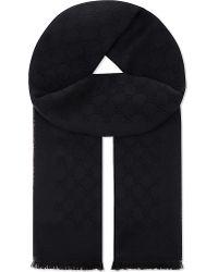 Gucci Black Gg Logo Wool Scarf for men