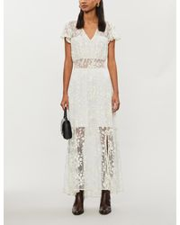 The Kooples Multicolor Floral-embroidered Mesh Maxi Dress
