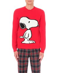 Gucci - Red Snoopy Jacquard Wool Jumper - Lyst