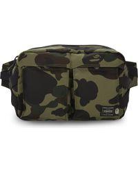 A Bathing Ape Green Porter Camo Waist Bag for men