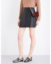 Whistles Black A-line Leather Skirt
