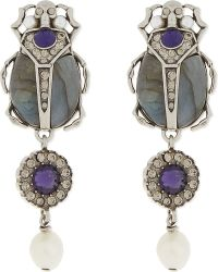 Alexander McQueen - Metallic Beetle Stone Earrings - Lyst