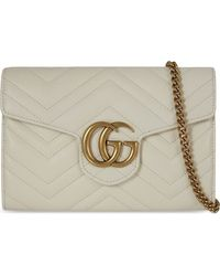 Gucci - White GG Marmont Leather Shoulder Bag - Lyst