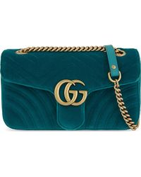 Gucci Blue GG Marmont Small Velvet Shoulder Bag