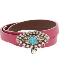 Alexander McQueen Pink Jewelled Eye Double Wrap Leather Bracelet