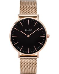 Cluse Black Cl18113 La Bohème Rose Gold And Stainless Steel Mesh Watch