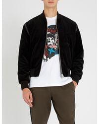 The Kooples Black Faux Leather-trimmed Padded Velvet Bomber Jacket for men