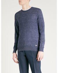BOSS Orange - Blue Crewneck Marled Linen Jumper for Men - Lyst