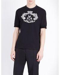 Alexander McQueen | Black Crewneck Skull-print Cotton-jersey T-shirt for Men | Lyst