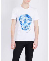 Alexander McQueen   Blue Skull-embroidered Cotton-jersey T-shirt for Men   Lyst