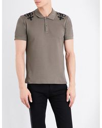 Alexander McQueen - Gray Embroidered-detail Cotton-piqué Polo Shirt for Men - Lyst
