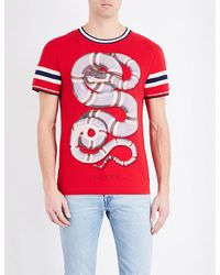 5c93e9bc60029 Lyst - Gucci Snake Print Cotton T-shirt in Red for Men