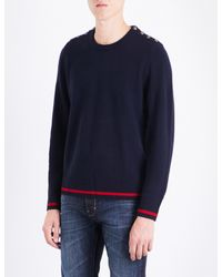 The Kooples Blue Button-detail Wool And Cashmere Blend Jumper for men