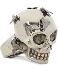 Alexander McQueen | Metallic Skull And Fly Ring | Lyst