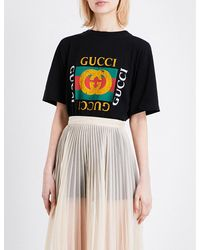 Gucci | Black Embroidered-logo Cotton-jersey T-shirt | Lyst
