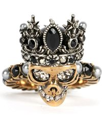 Alexander McQueen   Metallic Crowned Skull Ring   Lyst