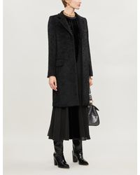 Max Mara Black Oncia Wool-blend Coat