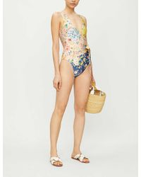 Zimmermann Blue Zinnia Floral-print Wrap-over Swimsuit