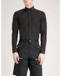 Givenchy Black Stars And Stripes-collar Regular-fit Cotton Shirt for men