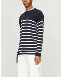 Barena Blue Striped Crewneck Linen And Cotton-blend Jumper for men