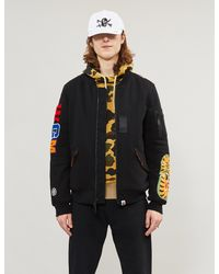 A Bathing Ape Yellow Camouflage Shark Padded Cotton-twill Jacket for men