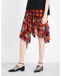 Preen Line Red Chloe Floral Check-print Crepe Skirt