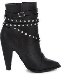 ALDO | Black Kedaella Leather Heeled Ankle Boots | Lyst