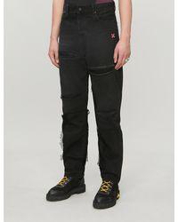 Off-White c/o Virgil Abloh Black Straight Distressed Jeans for men