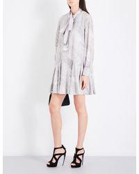 Alexander McQueen | Gray Marble-print Self-tie Silk Crepe-de-chine Dress | Lyst