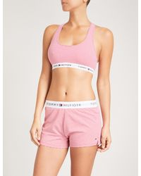 ff22db58066e9 Lyst - Tommy Hilfiger Striped Stretch-cotton Bralette in Pink