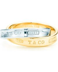 Tiffany & Co Metallic Tiffany 1837tm Interlocking Circles Ring In 18k Gold And Sterling Silver