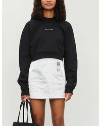 1017 ALYX 9SM Black Cropped Embroidered-branding Cotton-blend Hoody