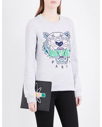 KENZO Gray Icon Tiger-embroidered Cotton-jersey Sweatshirt