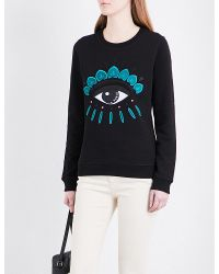 KENZO Black Icon Eye-embroidered Cotton-jersey Sweatshirt