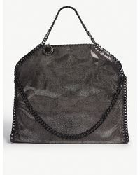 Stella McCartney Ruthenium Black Disk Charm Falabella Metallic Faux Leather Shoulder Bag