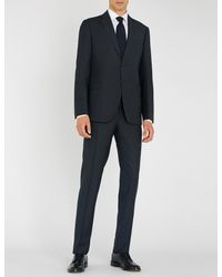 Emporio Armani Blue Pinstriped Wool Suit for men