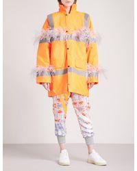 Fyodor Golan - Orange Marabou Feather-trim Padded Woven Parka Coat - Lyst
