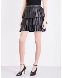 Claudie Pierlot Black Seattle Ruffled Leather Mini Skirt