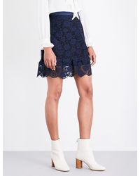 Sandro Blue Rose-embroidered Lace Skirt