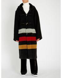 Ambush - Black Contrast-panel Oversized Wool-blend Coat for Men - Lyst