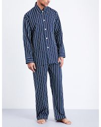Derek Rose - Blue Royal 201 Cotton Pyjama Set for Men - Lyst