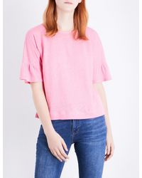 Whistles Pink Frilled Linen Top