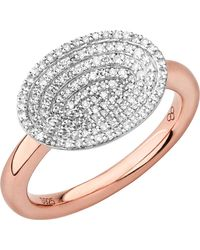 Links of London   Metallic Concave 18ct Rose Gold Vermeil And Diamond Ring   Lyst