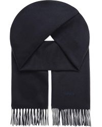 Lanvin | Blue Logo Embroidered Cashmere Scarf for Men | Lyst