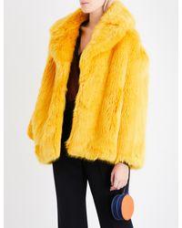 Diane von Furstenberg Yellow Oversized Faux-fur Coat