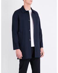 Sandro Blue Single-breasted Cotton-blend Coat for men