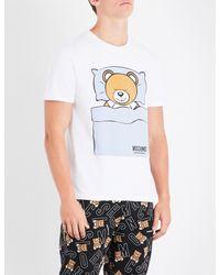 Moschino White Sleepy Teddy Jersey T-shirt for men