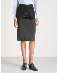 Maison Margiela Black Pencil Skirt With Peplum